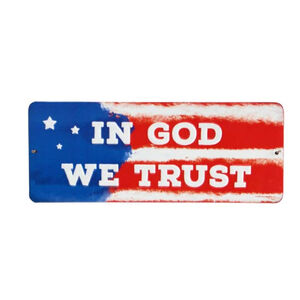 "Open Road Brands In God We Trust Tin Sign 4.4""H x 11""W Embossed"