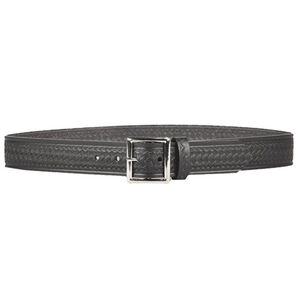 "DeSantis Econoline Basket Weave Garrison Belt 1.5"" Leather Nickel Buckle Size 44 Plain Black"
