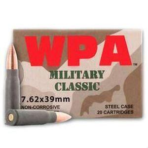 Wolf Military Classic 7.62x39mm Ammunition 123 Grain Bi-Metal FMJ Steel Cased 2330 fps