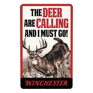 """Open Road Brands Winchester Deer Calling Tin Sign 9.34""""H x 5.75""""W Embossed"""