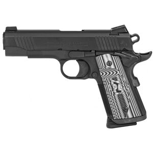 "Colt Combat Unit CCO 1911 Officer's Model 9mm Luger Semi Auto Pistol 4.25"" Barrel 9 Round Novak Sights G10 Gray Scallop Grips PVD Black Finish"
