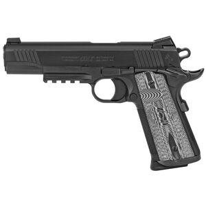 "Colt Combat Unit Rail 1911 Government Model .45 ACP Semi Auto Pistol 5"" Barrel 8 Round Novak Sights G10 Gray Scallop Grips PVD Black Finish"