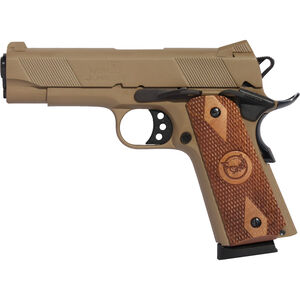 "Iver Johnson Hawk .45 ACP 1911 Commander Size Semi Auto Handgun 4.25"" Barrel 8 Rounds Series 70 Style Novak Sights Steel Coyote Tan"