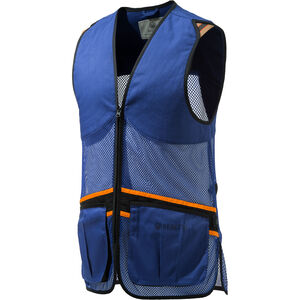 Beretta USA Full Mesh Shooting Vest Cotton and Mesh Panels Unisex Design Padded Shooting Patches Beretta Blue