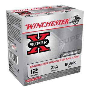 "Ammo 12 Gauge Winchester Super-X 2-3/4"" Smokeless Powder Blank Load 25 Round Base For Field Trial or as a Popper Load XP12"