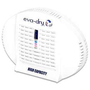 "Eva-Dry E-500 Mini Dehumidifier High Capacity for 500 Cubic Feet Areas 5"" x 6"" 10 Year Life Non Toxic White E500"