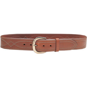 """Galco SB6 Fancy Stitched 1.75"""" Belt Brass Buckle Leather Size 38 Tan"""