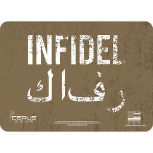 """Cerus Gear American Infidel ProMat Handgun Size 12""""x17"""" Synthetic American Infidel Image with Coyote Tan"""