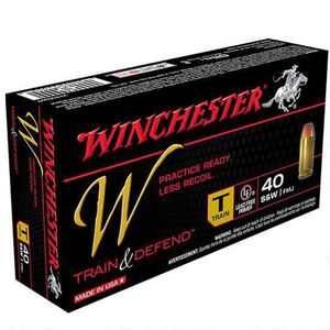 Winchester Train and Defend .40 S&W Ammunition 500 Rounds, Reduced Lead FMJ, 180 Grains
