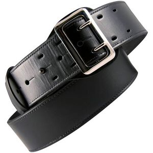 "Boston Leather 6501 Fully Lined Sam Browne Leather Belt 34"" Brass Buckle Brass Snaps Plain Leather Black 6501-1-34B"