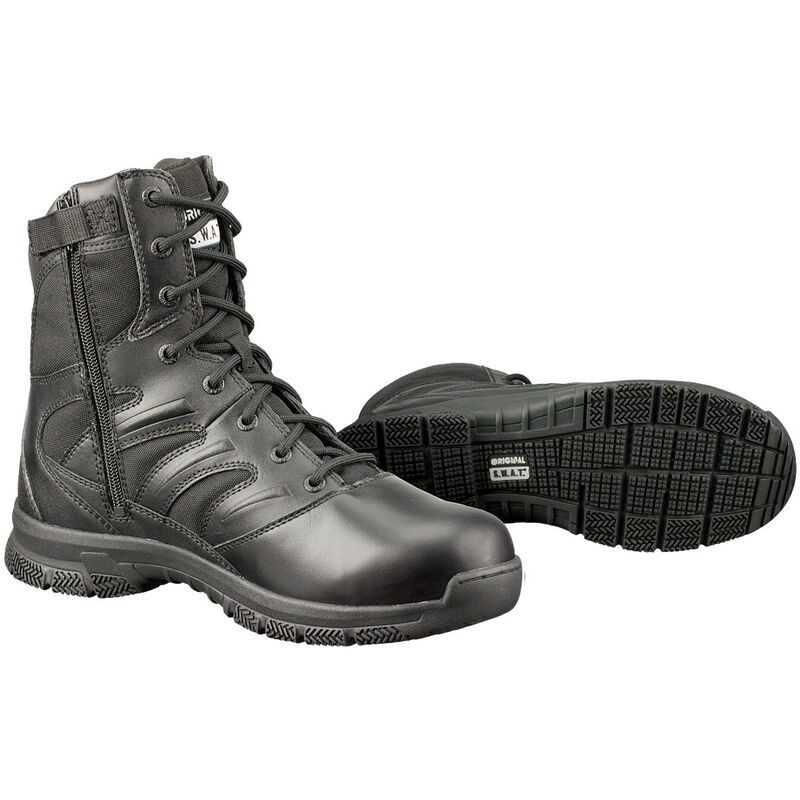 "Original S.W.A.T. Force 8"" Side-Zip Men's Boot Size 14 Regular Thermoplastic Heel and Toe Non-Marking Sole Leather/Nylon Black 152001-14"