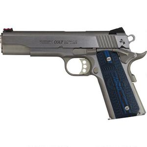 """Colt Competition 1911 Series 70 Government Model Semi Auto Pistol 9mm Luger 5"""" Barrel 9 Rounds Fiber Front Sight Novak Rear Sight G10 Grips Brushed Stainless Finish"""