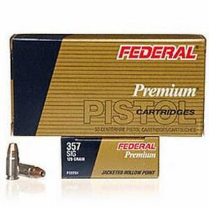 Federal Defense .357 SIG Ammunition125 Grain JHP 50 Round Box