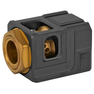 Chaos Gear Supply Official Qube Compensator 9mm Luger 1/2x28 Thread Pitch 17-4H900 Stainless Steel Black/Gold Finish