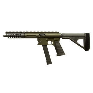 "TNW Aero Survival Pistol .40 S&W Semi Auto Pistol 10.25"" Barrel 22 Rounds GLOCK Style Magazine Extended Hand Guard SB Tactical Pistol Brace OD Green"
