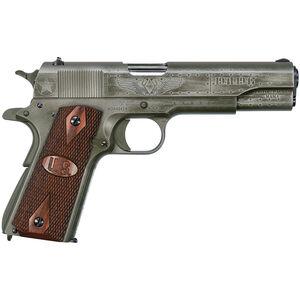 "Auto-Ordnance Fly Girls WW2 1911 Semi Auto Pistol .45 ACP 5"" Barrel 7 Rounds Adjustable Rear Sight US Logo Wood Grips Two Tone Black/OD Green Worn Cerakote Finish"