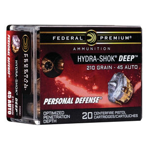 Federal Premium Hydra-Shok Deep .45 Auto Ammunition 20 Rounds 210 Grain Hydra-Shok Deep Hollow Point Projectile 980fps