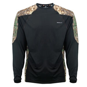 Medalist Men's Huntgear Insulating Long Sleeve Crew Shirt Polyester/Spandex Large Black/Camo M4545RTBLL