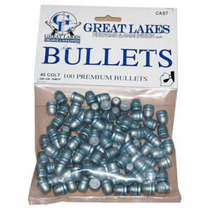 """Great Lakes Bullets and Ammunition .45 Colt .452"""" Diameter 200 Grain Cast Lead Round Nose Flat Point Bullets 100 Pack B689072"""