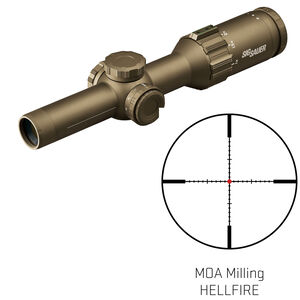 SIG Sauer Tango6T 1-6x24 Riflescope Illuminated Hellfire MOA Milling Reticle 30mm Tube .50 MOA Adjustments Fixed Parallax Second Focal Plane CR2032 Battery FDE