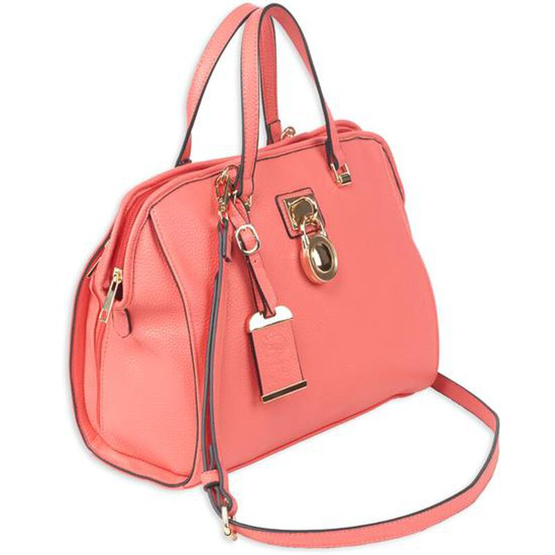 """Bulldog Cases Satchel Style Purse 16""""x9.5""""x5.5"""" Leather Coral"""