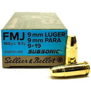 Sellier & Bellot 9mm Subsonic Ammunition 50 Rounds FMJ 150 Grains