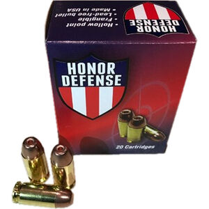 Honor Defense .380 ACP Ammunition 20 Rounds 75 Grain LF Frangible HP 950fps