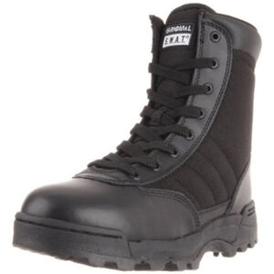 "Original S.W.A.T. Classic 9"" Side Zip Men's Boot Size 8.5 Wide Non-Marking Sole Leather/Nylon Black 115201W-85"