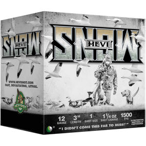 "Hevi-Shot Hevi-Snow 12 Gauge Ammunition 25 Rounds 3"" Shell #1 Steel Shot 1-1/4oz 1500fps"