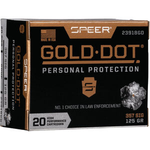 Speer Gold Dot Personal Protection .357 SIG Ammunition 20 Rounds 125 Grain GDHP 1350fps