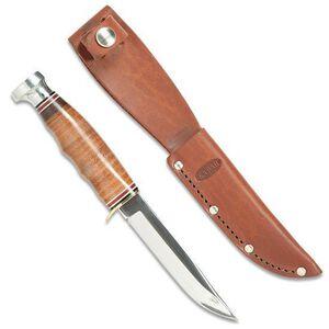 """KA-BAR 4"""" Plain Blade Hunter Fixed Knife Leather Handle Leather Sheath Warranty"""