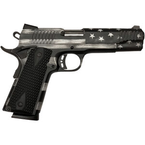 """Citadel M-1911 Government 9mm Luger Full Sized 1911 Semi Auto Pistol 5"""" Barrel 10 Rounds Black G10 Synthetic Grips US Flag Grayscale Finish"""