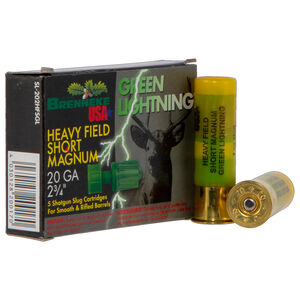 "Brenneke USA Green Lightning 20 Gauge Ammunition 5 Rounds 2-3/4"" 1 oz Rifled Slug 1392 fps"