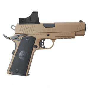 "EAA GiRSAN MC1911C Commander Model 9mm Luger Semi Auto Pistol 4.4"" Barrel 9 Rounds Red Dot Optic Ambidextrous Safety Flat Dark Earth Finish"
