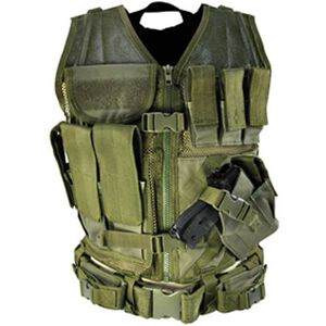 VISM Tactical Vest Includes Magazine Pouches, Holster and Pistol Belt OD Green