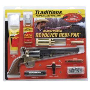 "Traditions 1851 Navy Revolver Black Powder Redi-Pak Kit .44 Caliber 8"" Barrel Walnut Wood Grips Blued Finish FRS18511"