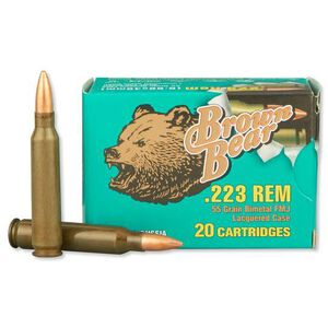 Brown Bear .223 Remington Ammunition 20 Rounds, FMJ, 55 Grain