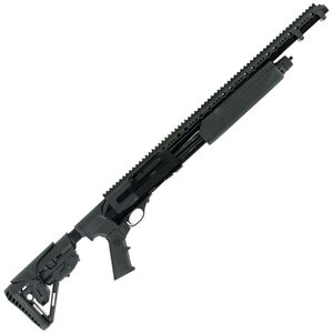 "Hatfield PAS 12 Gauge Pump Action Shotgun 20"" Barrel 3"" Chamber 5 Rounds Full Length Rail Synthetic Adjustable Stock Black Finish"