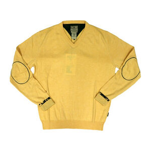 Beretta Men's Country Classic V-Neck Sweater Size Medium Wool Blend Yellow