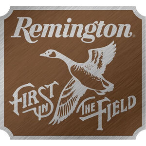 """Open Road Brands """"Remington First In The Field"""" Burnished Tin Sign 12""""x11"""""""