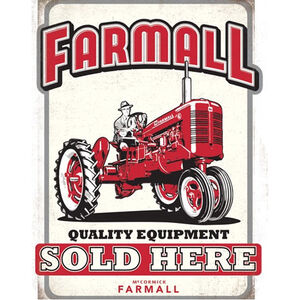 "Open Road Brands ""Farmall Quality Equipment"" Embossed Tin Sign 10.237""x13"""