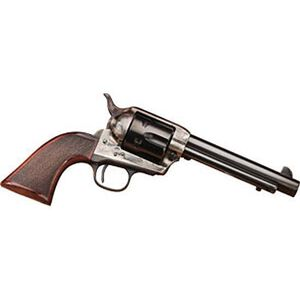 """Taylor's and Company Smoke Wagon Deluxe Edition Revolver .45 Long Colt 4-3/4"""" Barrel 6 Rounds Checkered Wood Grips Case Hardened Blue Finish"""