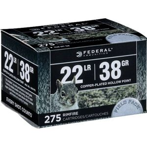 Federal Range & Field .22 Long Rifle Ammunition 275 Rounds CPHP 38 Grains 730