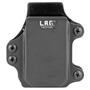 L.A.G Tactical Inc Single Rifle Magazine Carrier Pistol Caliber Carbine Magazines Belt Clip Attachment System Kydex Construction Matte Black