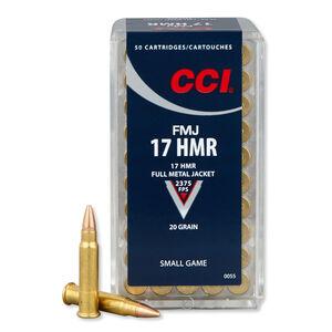 CCI .17 HMR Ammunition 50 Rounds, FMJ, 20 Grains