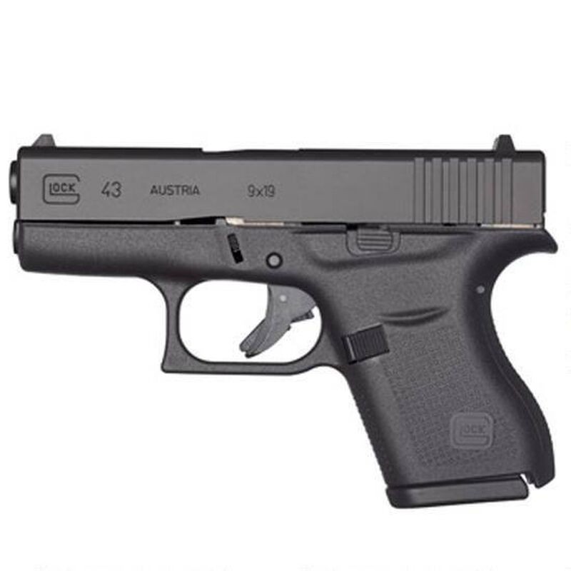 "GLOCK 43 9mm Semi Auto Pistol, 3.39"" Barrel 6 Rounds Slimline Black"