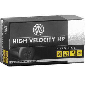RWS High Velocity HP .22 LR Ammunition 40 Grain Plated HP 1263 fps