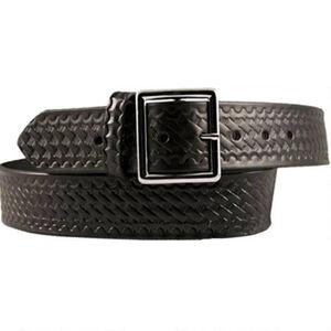 """Boston Leather Garrison Belt 40"""" Nickel Buckle Basket Weave Black"""