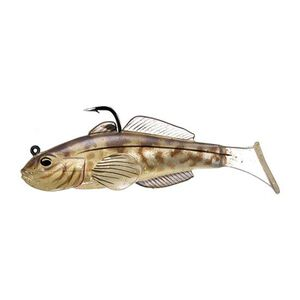 """Goby Paddle Tail 3 1/4"""", Number 1/0 Hook Size. Variable Depth, Natural"""