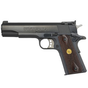 "Colt Gold Cup Series 1911 National Match Government Model .38 Super Semi Auto Pistol 5"" Barrel 9 Round Adjustable Rear Sight Rosewood Grips Blued Finish"